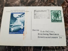 1938 Konstanz Germany Zeppelin Anniversary Postcard Cover With label to Freiberg
