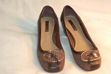 Luz Da Lua Brown Leather Heels Shoes Size USA 6 B