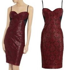 Ladies Red Black Coated Lace Corset Wiggle Pencil Dress UK sz Evening Cocktail