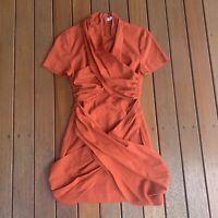 Isla The Label Size M Resource Mini Dress Burnt Orange Wrap Party Cocktail
