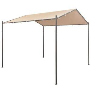Pavilion Partyzelt Überdachung 3x3 m/ 4x4 m Stahl Beige