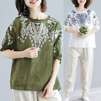 Women Cotton Loose Ethnic Blouse Casual Long Shirt Tops Ethnic Oversize Tops