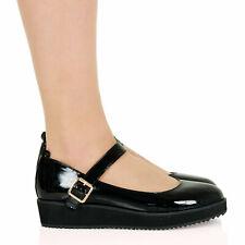 9, Black Pat Womens Classic T Strap Round Toe Flats