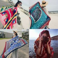 Women Cotton Linen Bohemian Scarves Tassel Warm Long Beach Towel Cover Up Shawl