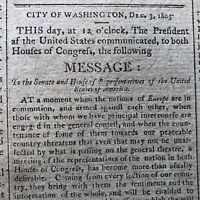 1805 newspaper THOMAS JEFFERSON STATE ofthe UNION SPEECH Lewis & Clark LOUISIANA