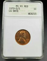 1970 S S/S Lincoln Memorial Cent Penny Coin ANACS MS65 RD RPM 001 Wexler-6215