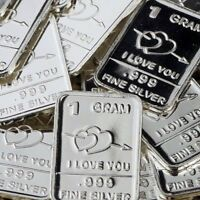 Lot of 30 X 1 gram .999  Fine Silver Bar Bullion  / I Love You  WPT316 oz