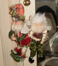 "Estate Mark Roberts 2 Santa Fairy Ornaments colorful 9"""
