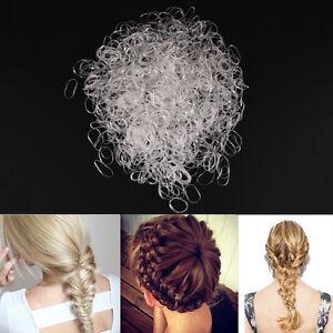 1000pcs Child Baby Transparent Hair Holders Rubber Bands Elastics Girls Tie、S*