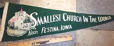 Smallest Church in the World, (near) Festina Iowa, old felt pennant 25 x 8 inch