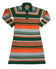 Vintage 1960s 1970s Sweater Dress Collared Retro Striped Green Orange Mod Groovy
