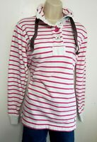 JOULES WOMENS JUMPER TOP UK 8 LOOSE RED WHITE STRIPED HIGH NECK