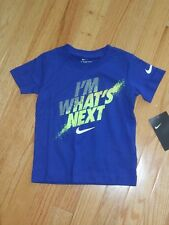 """NWT - Nike short sleeved blue, grey & neon green """"I'm What's Next"""" shirt - 2T"""