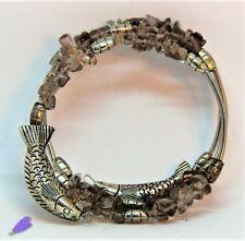 Bracciale Donna,hand-made, Pietre Dure: Giada Argento 3 giri in acciaio armonico