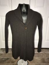 Takeout Brown Long Sleeve Single Button Long Cardigan Size L