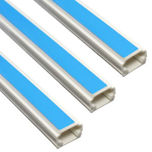 3 x Trunking White PVC Electrical Cable Tidy 25mm x 16 mm x 1 meter length