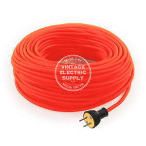 Neon Orange Cordset - Cloth Covered Round Rewire Set - Antique Lamp & Fan Cord