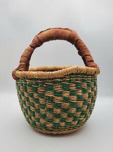 Vtg. Bolga Multi-Color Woven Sisal Market Basket with Leather Handle Bohemian