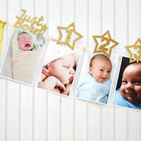 baby growth record 1-12 mouth photo ribbon banner for 1st birthday party S!FBDU