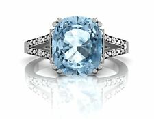 Blue Topaz & Diamond 9ct White Gold Cushion Ring