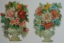 2.Antique, Embos Chromo Victorian Scraps. ORNATE VASES OF FLOWERS. Ap.13x10cms.