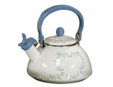 Corelle COUNTRY COTTAGE 2.2 Qt. WHISTLING TEA KETTLE Blue Hearts Green Vines NEW