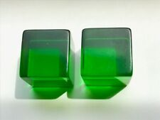 Pair Bakelite Large 25mm Clear Green Dice Cubes 50g