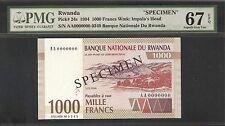 Rwanda 1000 Francs Specimen 1994 Pmg 67 Epq Unc Pick # 24s