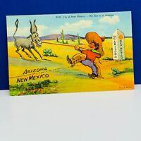 Postcard vintage post card ephemera comic humor ass donkey Arizona New Mexico 2