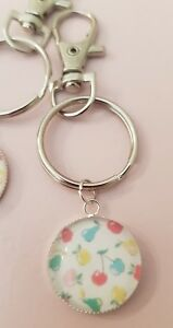 Cath Kidston Apples and Pears Cherry Style Print Keyring Bag Charm Gift Tag