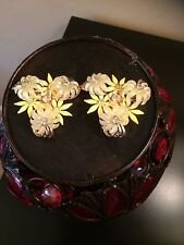 Vintage Gold Tone Yellow  Plastic Flowers Rhinestones Clip On Earrings