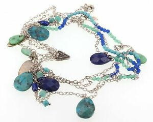"""Retired Silpada EARTH & SKY Necklace N2855 Sterling Turquoise Lapis 52"""" Long"""