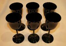 Set of 6 Vintage Tiffin Glass Ebony Wine or Cordial Glasses - Handblown