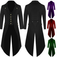 Vintage Men Tuxedo Tail Jacket Coat Steampunk Gothic Coat Uniform Party Wedding