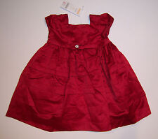 NWT Gymboree Merry Occasions 18-24 Months Red Pintucked Satin Holiday Dress
