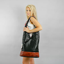 Boulevard Chelsea Large Leather Handbag/Shoulder bag. Black/Tan
