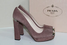 New Prada Dark Rose Suede Silver Cap Toe Platform Pump Heel Shoes sz 9.5 / 39.5