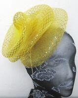 gold feather fascinator millinery burlesque headband wedding hat hair piece