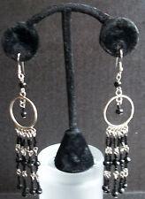 Black Silver Onyx Ebony Dangle Chandelier Earrings Unique Handmade Long Drop K