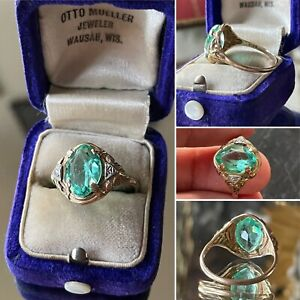 10k Solid Rose, White Yellow Gold Victorian Ring  French Teal Blue Stone Antique