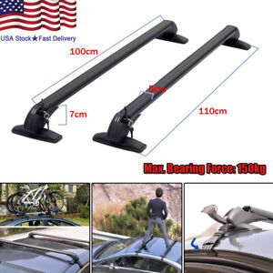 Universal Car Roof Rail Luggage Rack Baggage Carrier Aluminum Alloy w/ Key 110cm