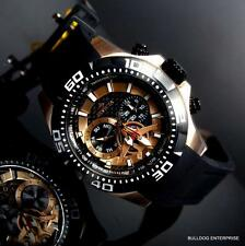Mens Invicta Aviator Black Rose Gold Tone Multifunction Carbon Fiber Watch New