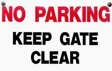 NO PARKING KEEP GATE CLEAR WARNING STICKER DECAL VINYL SIGN RED  MODERN