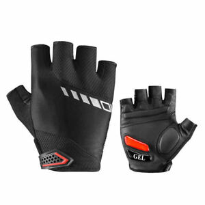 ROCKBROS Cycling Half Finger Gloves Sport Gel Black Breathable Sheepskin Gloves