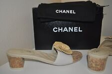 NIB CHANEL Beige Nude CC Logo Cork Straw Flower Sandals Mule Heel Shoes 12 - 42