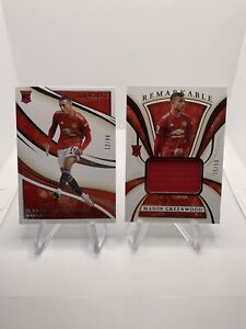 2020 immaculate soccer mason greenwood lot of (2) patch /50, and base /99