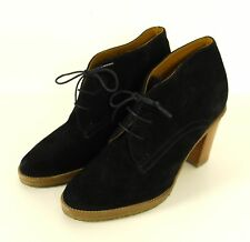 Ralph Lauren botín botas de cuero de gamuza negro Gr. 37,5/4,5 (k8)