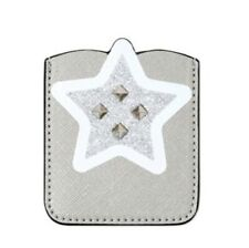 Star Silver Glitter Studded Sticky 3M Cell Phone Pocket Wallet Card Holder Id