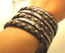 Humanity Inspire with Kindness Cuff Bracelet w Studs Crystals Black