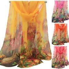 Women Floral Boho Long Scarf Soft Neck Wrap Shawl Stole Large Beach Scarves Gift